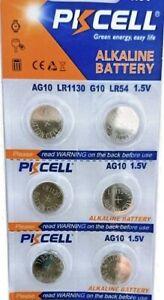 6 PKCELL LR1130 AG10 189 L1131 389 V10GA 1.5 V BATTERY
