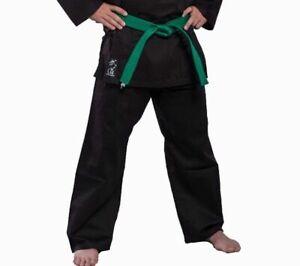 BAY® Basic Hose schwarz Baumwolle Elastikbund Kampfsport Karate Kung Fu Budo TKD