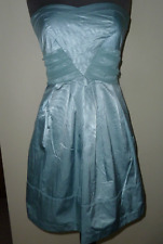 WAREHOUSE DUCK EGG BLUE/MINT GREEN BUSTLE BACK PROM MINI DRESS SIZE 14 UK NEW