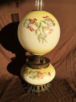 Gorgeous Gone With The Wind Parlor Oil Lamp Ball Shade Floral Yellow c. 1890
