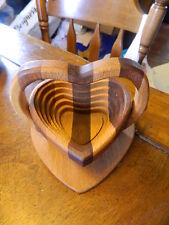 Multi colored wood wooden folding heart shaped basket w/ handle handmade