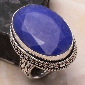 Blue Sapphire Ethnic Handmade Antique Design Ring Jewelry US Size-7 AR 35272