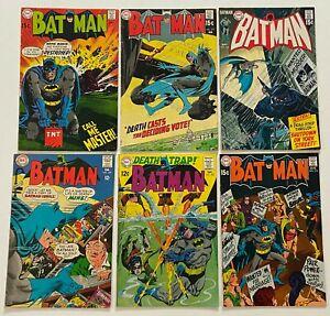 BATMAN #199 207 214 215 219 225 DC Silver Age Run Lot Detective FN+ 6.5 F/VF 7.0