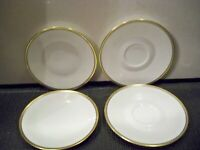 VINTAGE ROSENTHAL GERMANY 2 BREAD AND BUTTERS AND 2 SAUCERS GRAY WITH GOLD TONE
