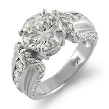 Round Cubic Zirconia Engagement Solitaire Bridal Ring Sterling 925 Silver Sz 5