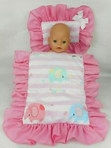 DOLLS~ELELPHANT~STRIPED~ PILLOW & QUILT COVER SET~ BED~COT~PRAM~CRADLE~BASSINET