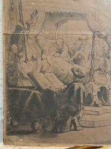 """Rembrandt """"Death Of The Virgin"""" 1639 Etching in Drypoint Very Old Poor Condition"""