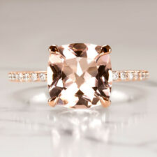 2.6c CUSHION PINK PEACH MORGANITE NATURAL DIAMOND ENGAGEMENT RING PAVE ROSE GOLD