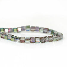 STRAND SMALL 3mm SQUARE RAINBOW CRYSTAL GLASS BEADS (100)~Bracelet~Earring (95C)