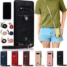 For Samsung Galaxy S10 Plus S10e S9 S8 S7 Soft Phone Purse Case Shoulder Strap