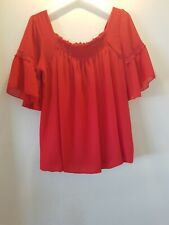 RED BARDOT TOP 14 ONE SIZE SUMMER TOWIE HOLIDAY CELEB GLAM LUV BOHO PRETTY