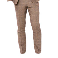 Mens Marc Darcy Designer Tweed Tailored Style Trouser tan check dx7 suit