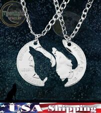 New Howling Wolf Coin shaped His and Hers Couple Necklace