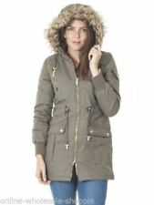 Faux Fur Patternless Military Coats & Jackets for Women
