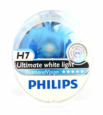 Two H7 Philips Diamond Vision Bulbs 5000K Headlight Light Halogen
