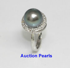 Tahitian Pearl Diamond Ring 18kt white gold 10 mm AAA Blue Green
