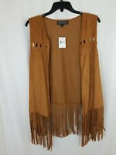 New Almost Famous Brown Sleeveless Vest Open Front Size L Faux Suede