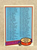 1980-81 Topps #123 Checklist Hockey Card Unchecked