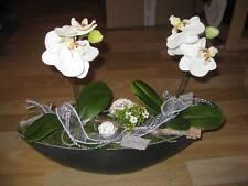 Tischdeko Floristik Schale grau creme Tischgesteck Orchidee Gesteck groß 40 cm