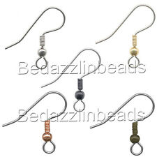 20 Stainless Surgical Steel Ball & Coil Fishhook Hook Earring Findings With Loop