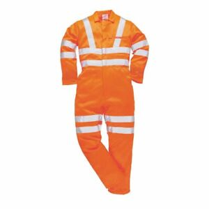 Hi-Vis Safety Workwear Poly-cotton Rail Track Side Coverall RIS sUw Orange XL