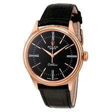 Rolex Cellini Black Dial 18 Carat Everose Gold Automatic Mens Watch 50505BKSL