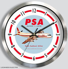 PSA AIRLINES LOCKHEED ELECTRA WALL CLOCK METAL 1960s pacific southwest