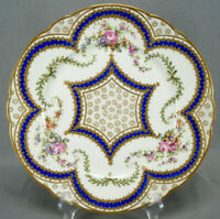 Sevres Style Bloch Paris Hand Painted Dresden Floral Cobalt Beaded Gold Plate C