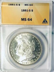1881-S Morgan Silver Dollar - ANACS MS-64 - Mint State 64