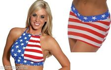 SEXY RED WHITE BLUE AMERICAN FLAG MINI SKIRT HALTER TOP O/S S - L