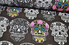 DAVID FABRICS MEXIKO SKULLS Designerstoff 0,5m FIESTA Skull Rockabilly BRAUN