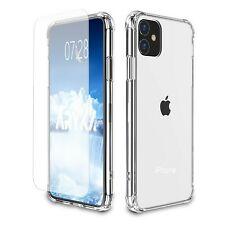 For iPhone 11 Pro Max XR XS 7 / 8  6 5s Plus Clear Case Cover + Tempered Glass