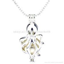 LP185 Bright Silver Ocean Sea Octopus Locket Real Pearl Cage Pendant Necklace