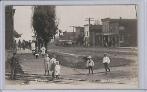Main St Ashley Mi, Wood Sidewalk, Children Looking On, RPPC c1910 Unique Photo
