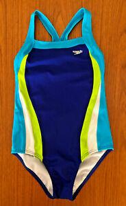 Speedo Girls Multi Color Racerback One Piece Swimsuit Size 14