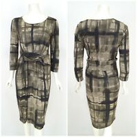 Womens Weekend Max Mara Twisted Front Dress 3/4 Sleeve Printed Size L