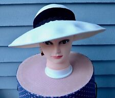 "Vtg ""Importina"" Hat Cream Wool Felt W/ Velveteen Band/Ribbon Orig Tags Fine Cond"