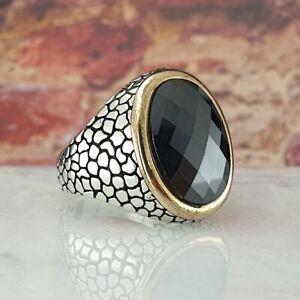 Black Agate Gemstone Solid 925 Sterling Silver Men Ring Turkish Heavy Size 10.25