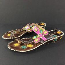 L'Artiste Spring Step Santorini Toe Sandal Leather Floral Thong US 9.5-10 / 41