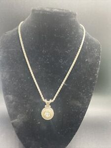 BRIGHTON Heart Heiress Crystal Silver & Gold Tone Pendant Necklace Preowned #PU
