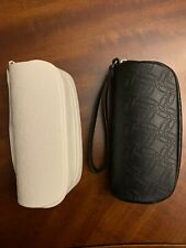 (2) Oakley Leather Zippered Sunglasses Protective Cases - One Black + One White