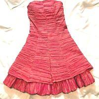 Jessica McClintock Dress Junior 2 Petite Strapless Taffeta Coral Gold Prom Party