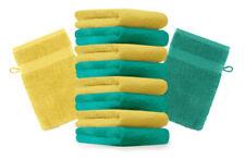 """10er Pack Waschhandschuhe """"Premium"""" Farbe: Smaragd-Grün & Gelb, Größe: 17x21 cm"""