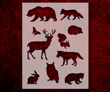 "Wild Animals Bear Owl Fox 8.5"" x 11"" Stencil FAST FREE SHIPPING (609)"