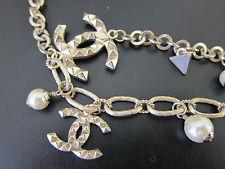Original CHANEL Kette silber CC Anhänger Perlen Dreiecke jewelry necklace silver