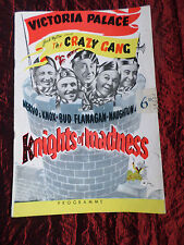 VICTORIA PALACE THEATRE PROGRAMME - THE CRAZY GANG - KNIGHTS OF MADNESS - 1950