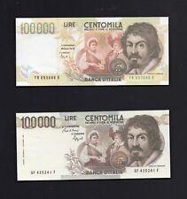 Riproduzione 100000 lire  Caravaggio 1' e 2' Tipo  -  Lire Italiane
