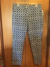 Michael Kors Women Pants Blue White 8 Small Medium Spring Summer Cotton New NWT