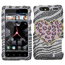 For Motorola DROID RAZR MAXX Crystal BLING Hard Case Phone Cover Playful Leopard