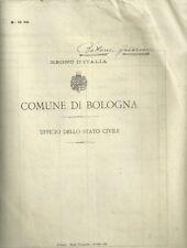 Certificato Ufficio Stato Civile Bologna Famiglia Bottoni Firma Sindaco 1905